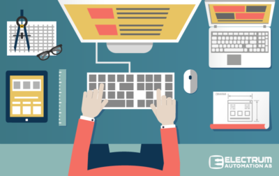 Software developer vector illustration of person working in front of computers